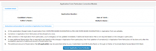 Application particulars Correction