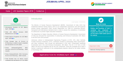 Apply for jee main 2020