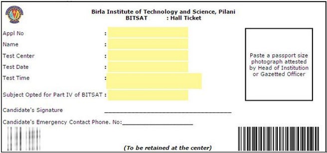 BITSAT Admit Card