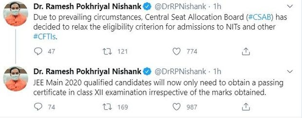 Education Minister tweeted about relaxed eligibility rules