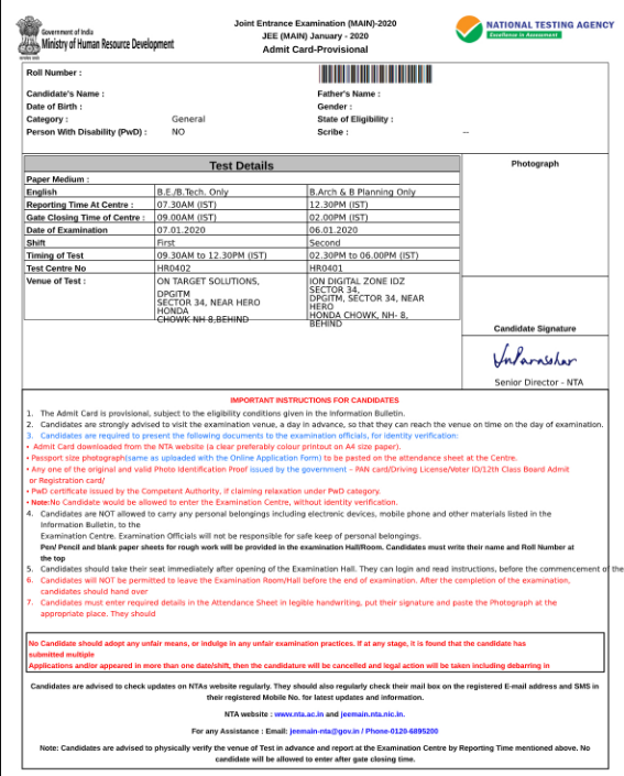 JEE Main Admit Card Sample