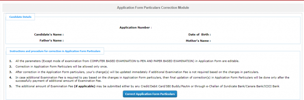 JEE Main Manage Form Correction