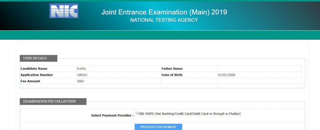 JEE Main Payment Details