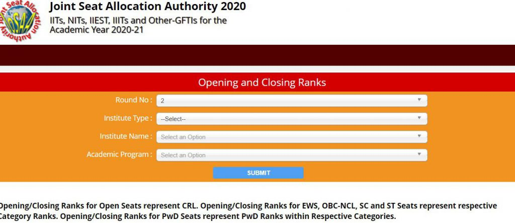 JoSAA Counselling 2020 Opening and Closing Ranks Released