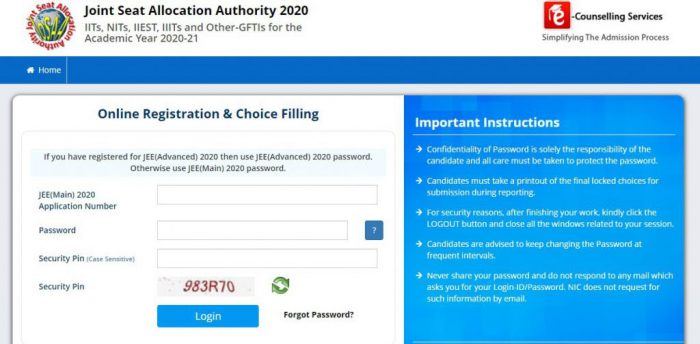 Online Registration and Choice Filling Portal