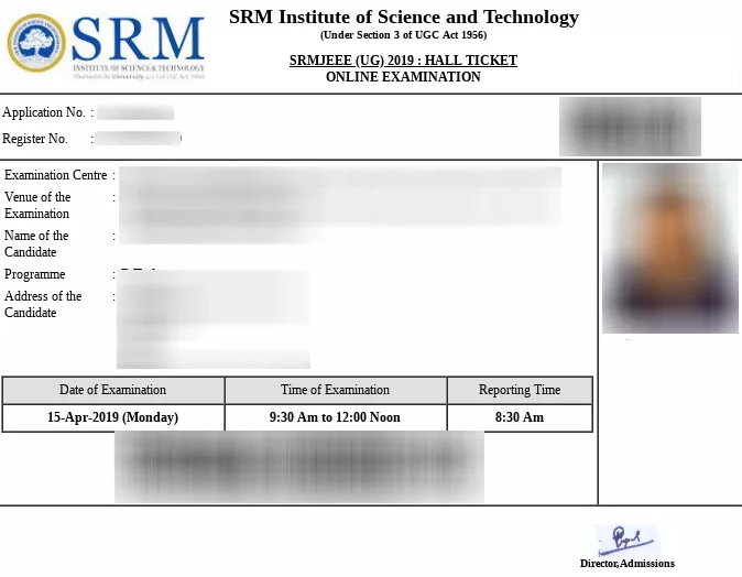 SRMJEEE Sample Admit Card