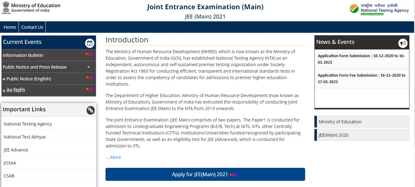JEE Main Application Form 2021 @ jeemain.nta.nic.in