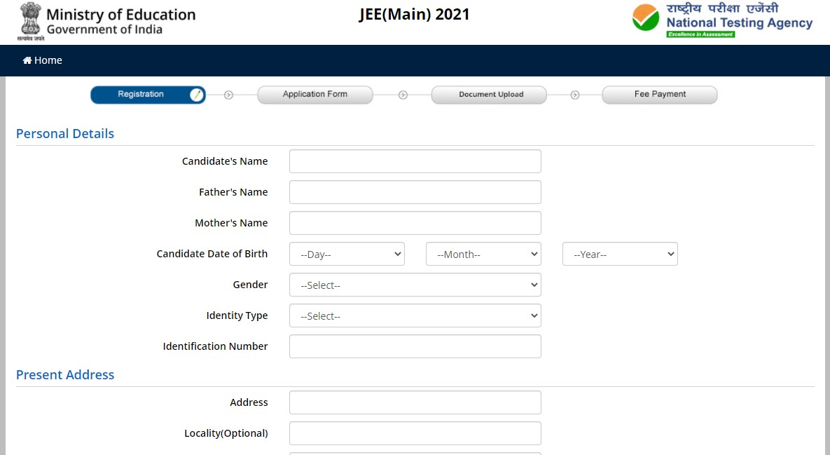 Particulars to Fill in JEE Main Application Form