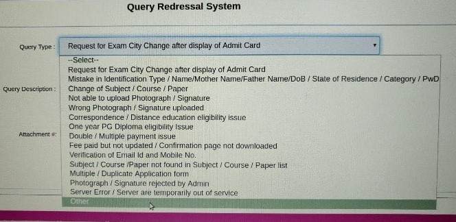 Query Redressal System Options