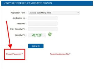 Admit Card Forgot Password