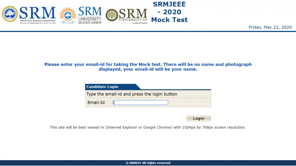SRMJEEE Mock Test Enter Email