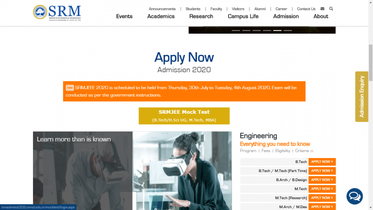 official website of SRM Admissions 2021