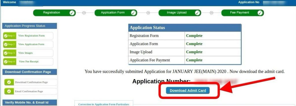 Admit Card Download