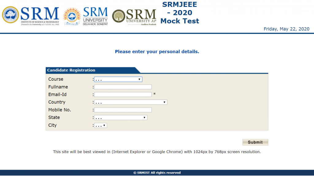 SRMJEEE Mock Test Enter Details