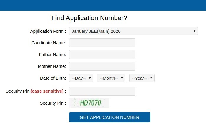 Find Application Number