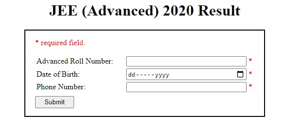 JEE Advanced Result 2020 Portal results.jeeadv.ac.in