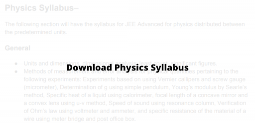 JEE Advanced physics syllabus, Download Here
