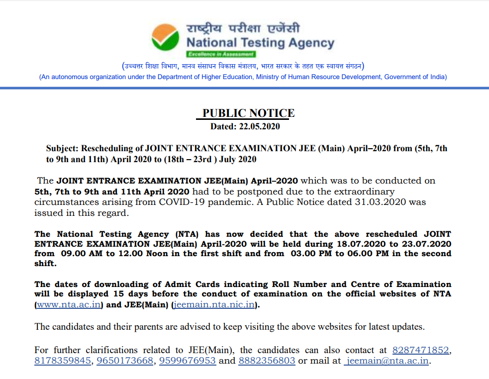 Release of Admit Card