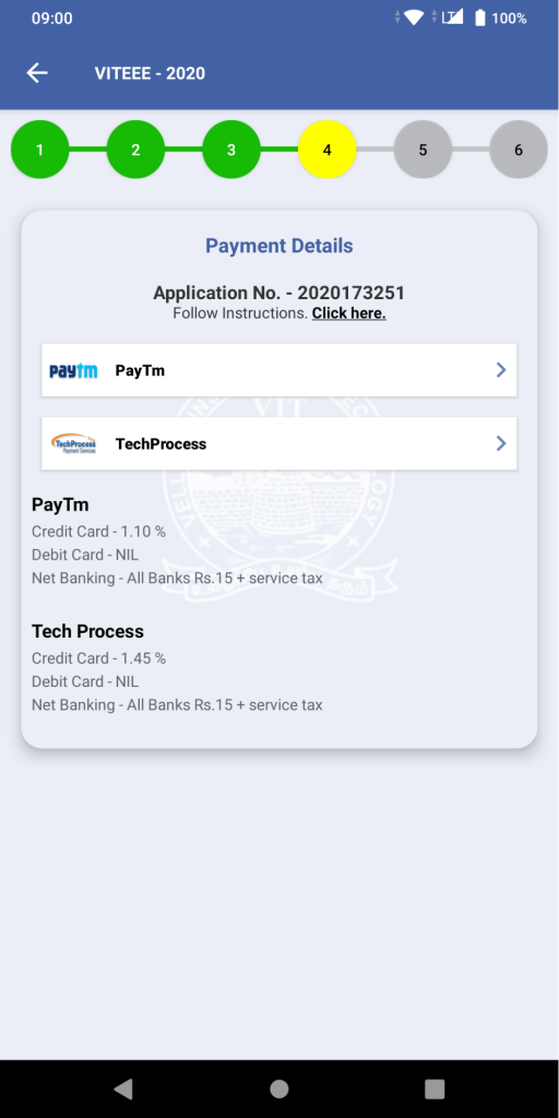 VITEEE Payment Details