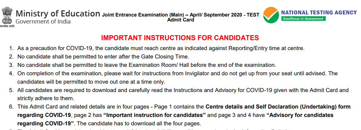 JEE Main 2020 Protocols & Important Advisory Released for Candidates Regarding COVID-19