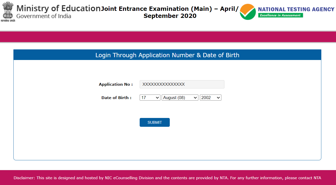Enter Details for JEE Main Admit Card