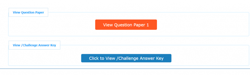 View Question Paper' and 'View / Challenge Answer Key