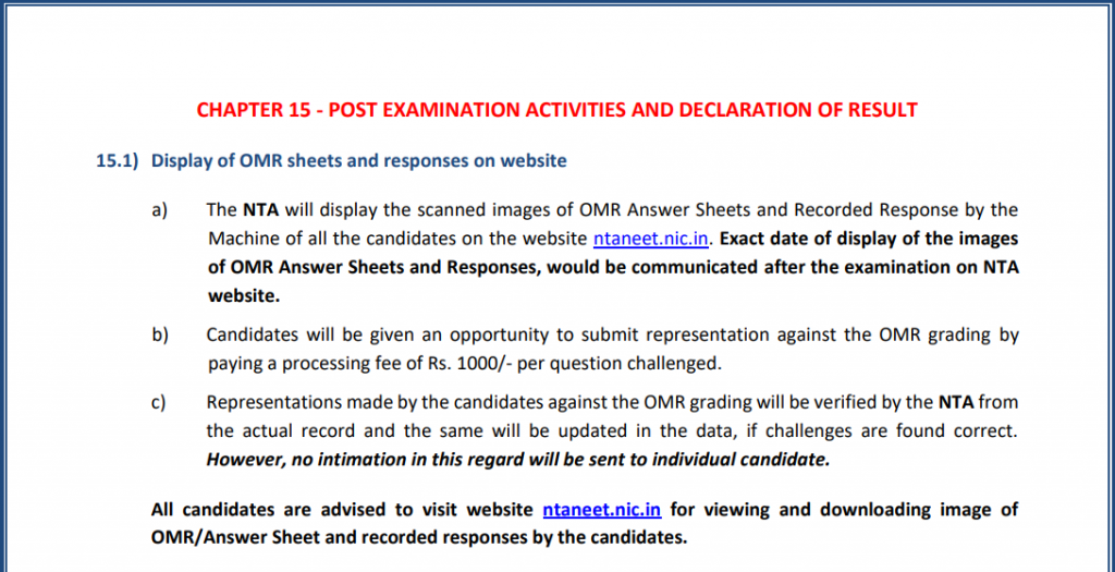 NTA Notice for display of OMR Sheet