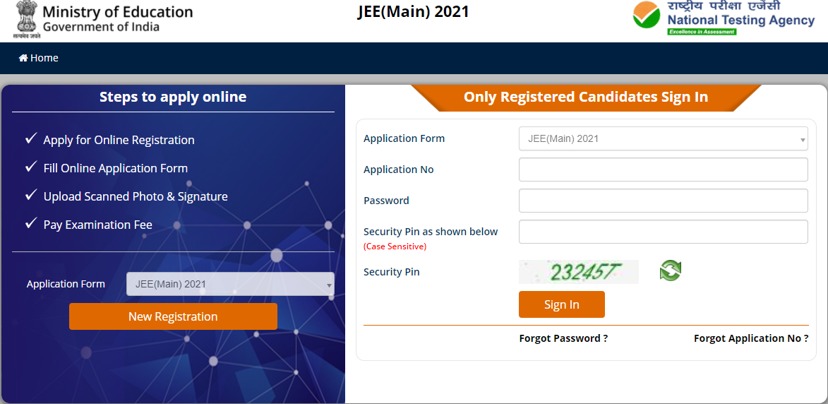 NTA JEE Main 2021 Application Form Official Website