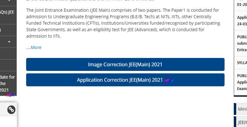 JEE Main 2021 Application