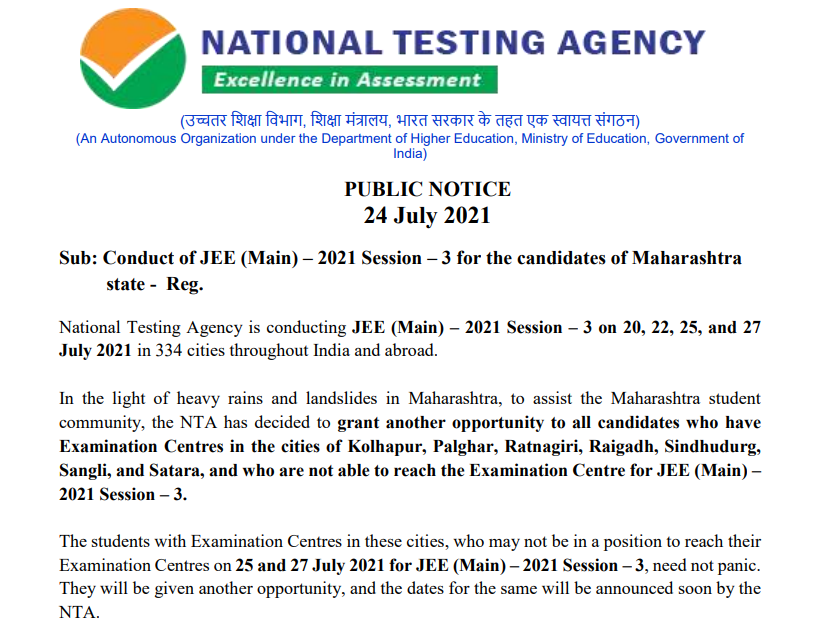 Image showing the Notice given by NTA regarding Maharashtra Students Affected by Rain: To Be Given Another Chance for JEE Main Session 3